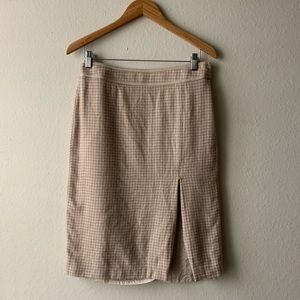 J.Crew Houndstooth Wool Pencil Skirt 6 Tan Beige